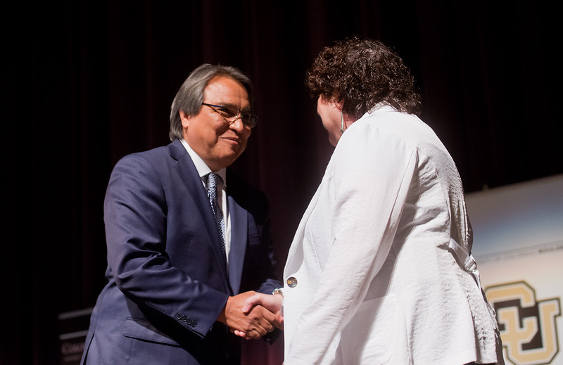"Dean of the University of Colorado Boulder Law School, Jim Anaya, greets U.S. Supreme Court Justice, Sonia Sotomayor, in Macky Auditorium at the University of Colorado Boulder on Friday. <br /> More photos:  <a href=""http://www.dailycamera.com"">http://www.dailycamera.com</a><br /> (Autumn Parry/Staff Photographer)<br /> September 2, 2016"