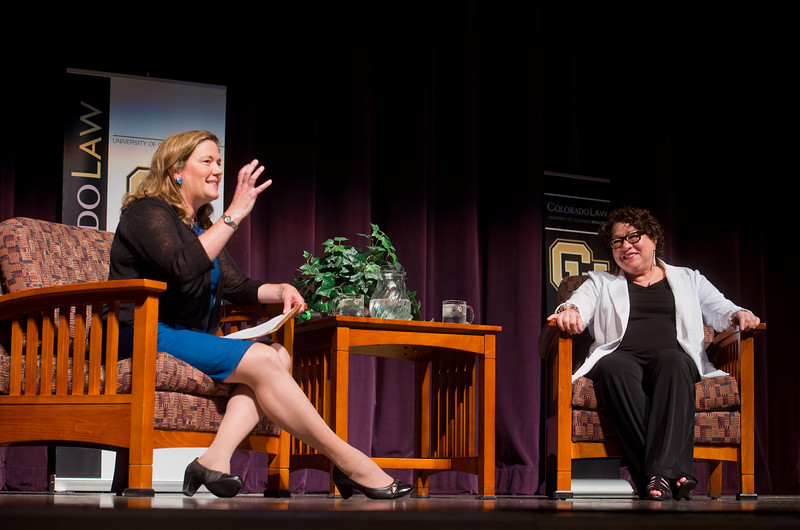 "Law Professor Melissa Hart talks with U.S. Supreme Court Justice Sonia Sotomayor in Macky Auditorium at the University of Colorado Boulder on Friday. <br /> More photos:  <a href=""http://www.dailycamera.com"">http://www.dailycamera.com</a><br /> (Autumn Parry/Staff Photographer)<br /> September 2, 2016"