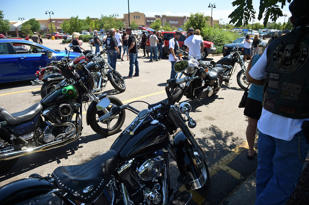 . Motorcyclists gather in the parking lot of the WalMart in north Longmont for the Keith Williams memorial ride Friday afternoon. To view more photos and a video visit timescall.com. Lewis Geyer/Staff Photographer July 28, 2017