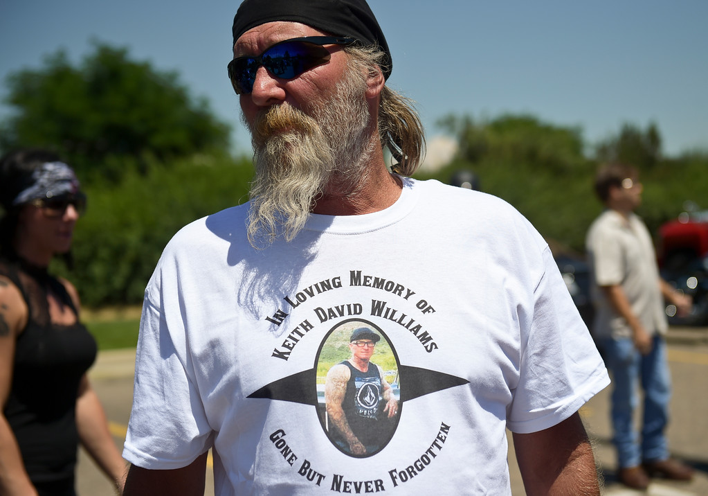 . Mike wears a t-shirt printed in memory of Keith Williams before the memorial ride to Howe Mortuary Friday afternoon. Mike did not want to give his last name. To view more photos and a video visit timescall.com. Lewis Geyer/Staff Photographer July 28, 2017