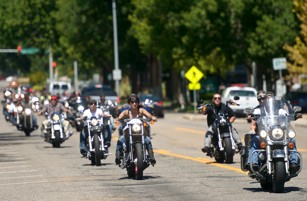 . Motorcyclists arrive at Howe Mortuary for Keith Williams\' funeral Friday afternoon. To view more photos and a video visit timescall.com. Lewis Geyer/Staff Photographer July 28, 2017