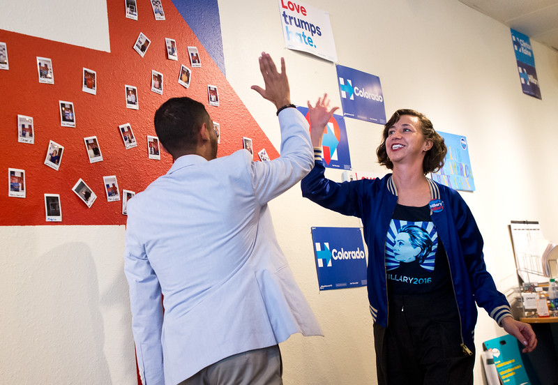 "Kristen Schaal receives a high five after speaking to a crowd about Hillary Clinton at the Longmont Coordinated Campaign Office in Longmont on Saturday. <br /> More photos:  <a href=""http://www.dailycamera.com"">http://www.dailycamera.com</a><br /> (Autumn Parry/Staff Photographer)<br /> October 22, 2016"