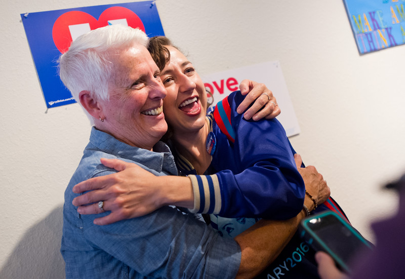 "Kristen Schaal hugs Terrie House, a family friend,  after she spoke to a crowd about Hillary Clinton at the Longmont Coordinated Campaign Office in Longmont on Saturday. <br /> More photos:  <a href=""http://www.dailycamera.com"">http://www.dailycamera.com</a><br /> (Autumn Parry/Staff Photographer)<br /> October 22, 2016"