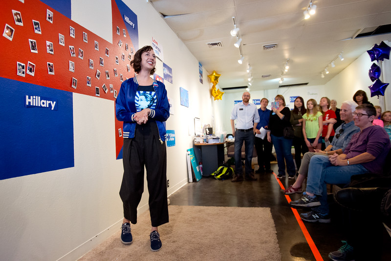 "Kristen Schaal speaks to a crowd in support of Hillary Clinton at the Longmont Coordinated Campaign Office in Longmont on Saturday. <br /> More photos:  <a href=""http://www.dailycamera.com"">http://www.dailycamera.com</a><br /> (Autumn Parry/Staff Photographer)<br /> October 22, 2016"
