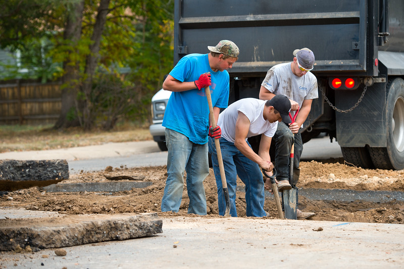 "From left to right, Luke Alps, Antonio Lopez and Zack Brown dig around a gas line as they prepare to put in sewer lines for new duplexes in Lafayette on Friday. Lafayette City Council will vote to approve an emergency ordinance on Tuesday to establish a moratorium on all new construction in Old Town for the next year. <br /> More photos:  <a href=""http://www.dailycamera.com"">http://www.dailycamera.com</a><br /> (Autumn Parry/Staff Photographer)<br /> October 14, 2016"