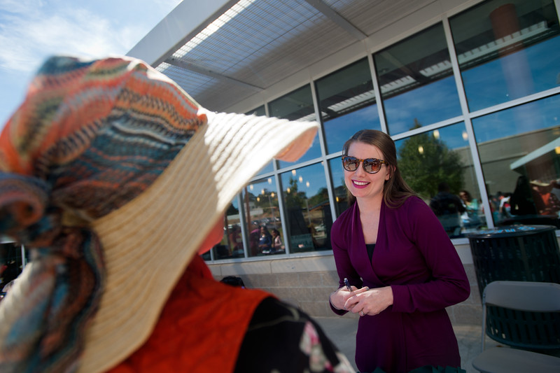 "Meredith Caley, with Boulder County Housing and Human Services, talks with Elvia Villalobos during the Resource Fair at the Latino Parent Summit at Casey Middle School in Boulder on Saturday. <br /> More photos:  <a href=""http://www.dailycamera.com"">http://www.dailycamera.com</a><br /> (Autumn Parry/Staff Photographer)<br /> October 8, 2016"
