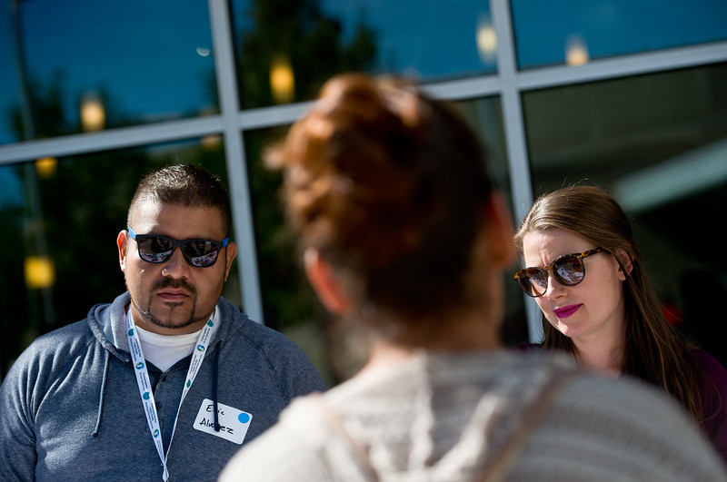 "Eric Alvarez and Meredith Caley, with Boulder County Housing and Human Services, listen to a visitor during the Resource Fair at the Latino Parent Summit at Casey Middle School in Boulder on Saturday. <br /> More photos:  <a href=""http://www.dailycamera.com"">http://www.dailycamera.com</a><br /> (Autumn Parry/Staff Photographer)<br /> October 8, 2016"