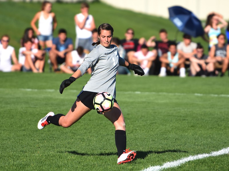 Silver Creek goalkeeper Kaeyla Noble punts the ball during the Raptors' 4A state quarterfinal game against Littleton on Wednesday, May 16, at Silver Creek High School.