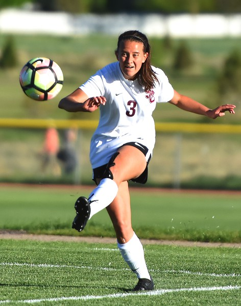 Silver Creek's Holly Bosley takes a goal kick during the Raptors' 4A state quarterfinal game against Littleton on Wednesday, May 16, at Silver Creek High School.