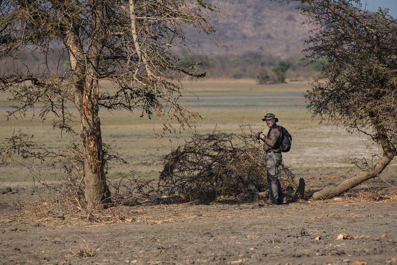 Bob with binocs, Vwaza Marsh Wildlife Reserve