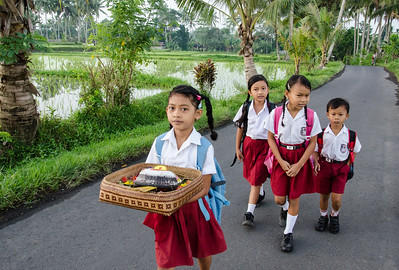 Children on the way to school, Ubud, Bali
