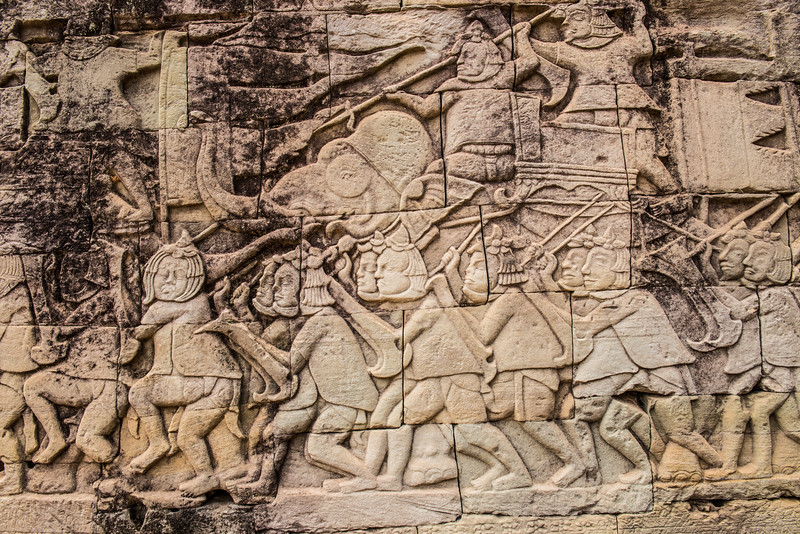 Carving detail Bayon Temple, Angkor temples, Cambodia