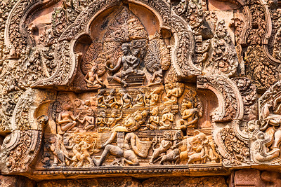 Carving detail Banteay Srei, Angkor temples, Cambodia