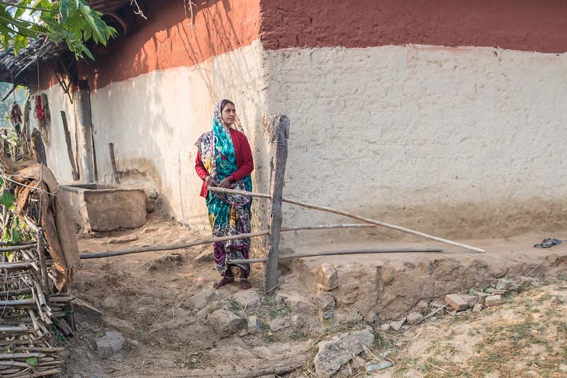 Woman outside her home, Ranchha village, Madhya Pradesh, India