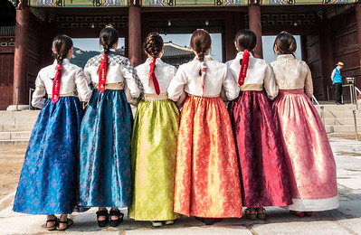 Young women, Gyeongbokgung Palace, Seoul, South Korea