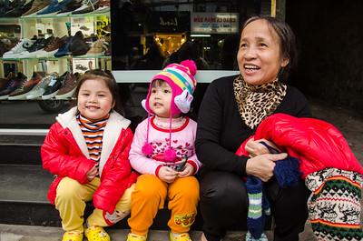 Girls with their Grandmother, Hanoi, Vietnam