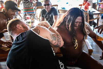 Arm Wrestling for Drinks, the Money Bar, Cozumel, Mexico