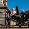 Two children playing on a cannon, Ruse, Bulgaria