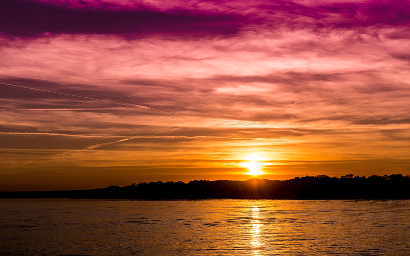 Sunset on the Danube, near Ruse, Bulgaria