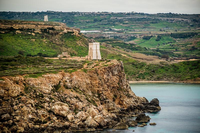 Watchtowers, Golden Bay, Malta