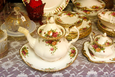 A tea set sits on display at the Debby's Collectibles of Carlotta booth. (Shaun Walker -- The Times-Standard)