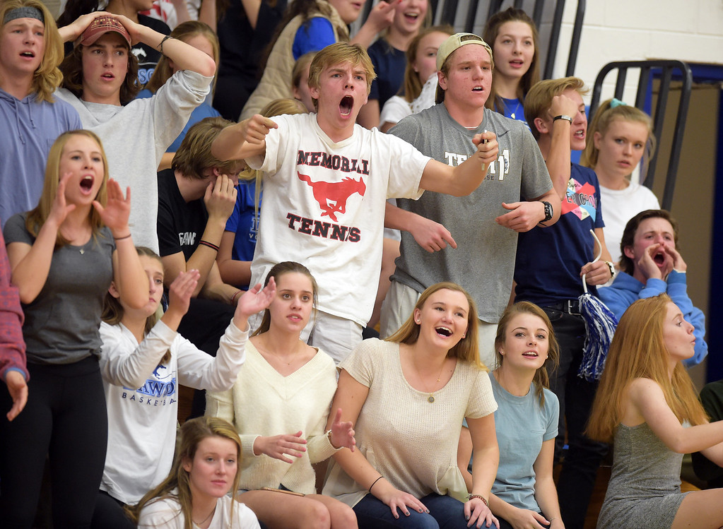 . Dawson fans cheer for their team against Longmont Christian Thursday night at Alexander Dawson. Dawson won 72-61. To view more photos visit bocopreps.com. Lewis Geyer/Staff Photographer Feb. 16, 2017
