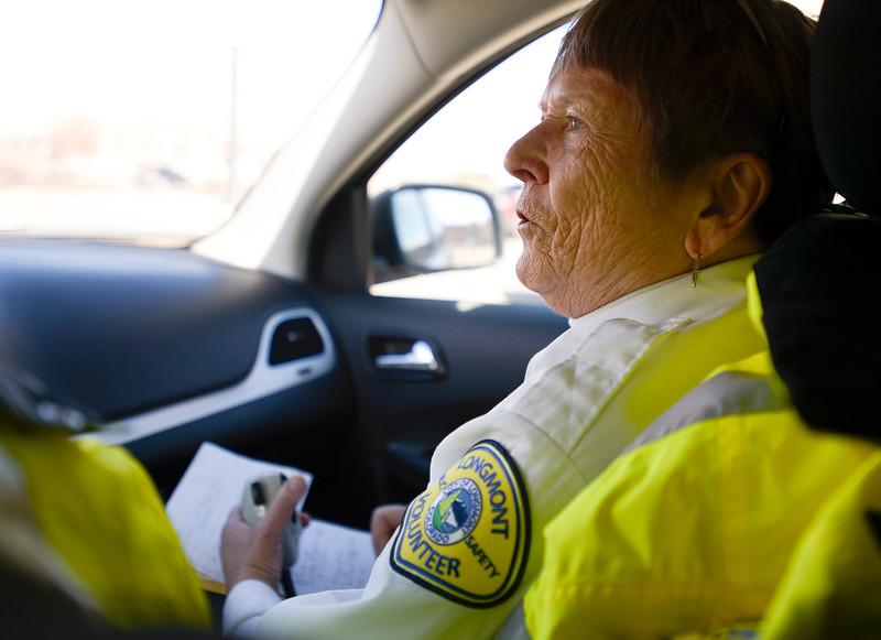 Citizen Volunteer Patrol volunteer Nancy Groom during their shift Tuesday with fellow volunteer Howard Wirth.<br /> Lewis Geyer/Staff Photographer  March 15, 2016