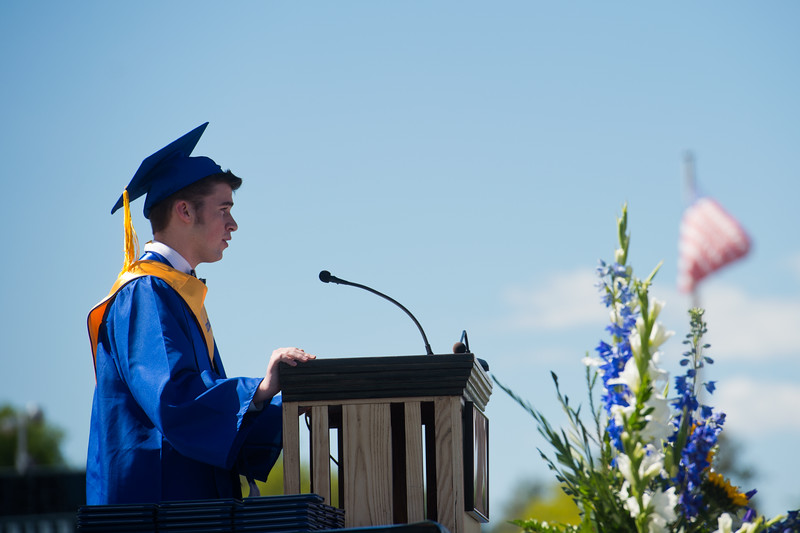 "Senior Mitchell Thornock welcomes the class of 2016 during graduation at Longmont High School on Saturday.<br /> More photos:  <a href=""http://www.dailycamera.com"">http://www.dailycamera.com</a><br /> (Autumn Parry/Staff Photographer)<br /> May 28, 2016"