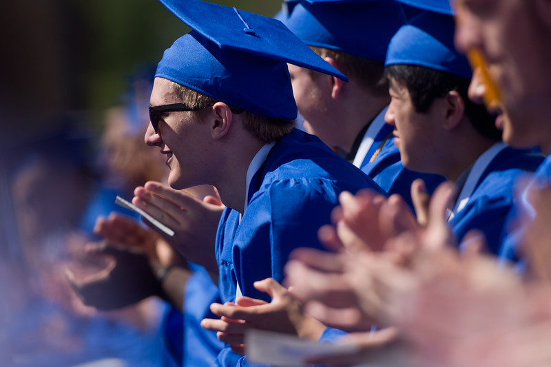 "Stephen Maher listens to Principal Rick Olsen address the class of 2016 during graduation at Longmont High School.<br /> More photos:  <a href=""http://www.dailycamera.com"">http://www.dailycamera.com</a><br /> (Autumn Parry/Staff Photographer)<br /> May 28, 2016"