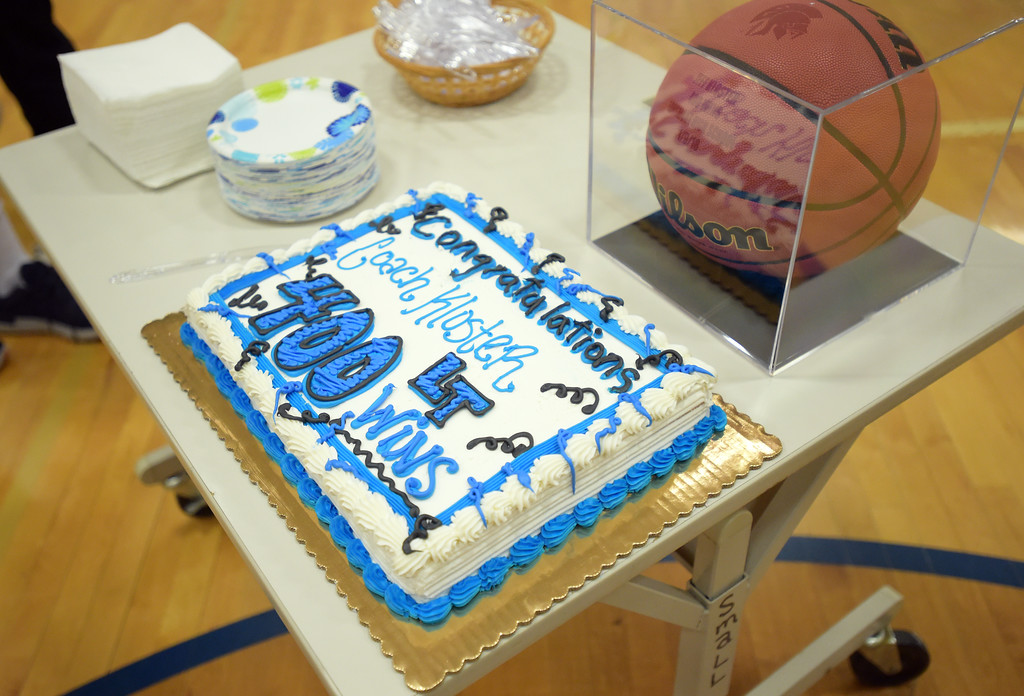 . Cake was served to recognize Longmont High School boys basketball coach Jeff Kloster\'s 400th win Tuesday night at Longmont High School. To view more photos visit bocopreps.com. Lewis Geyer/Staff Photographer Jan. 09, 2018