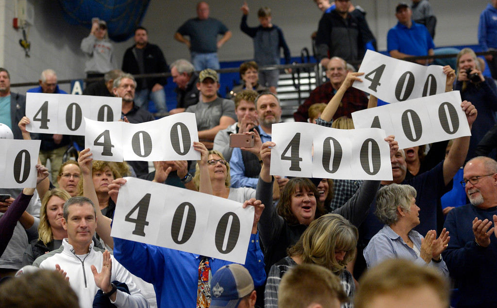 . Fans recognize Longmont High School boys basketball coach Jeff Kloster after his 400th win Tuesday night at Longmont High School. To view more photos visit bocopreps.com. Lewis Geyer/Staff Photographer Jan. 09, 2018