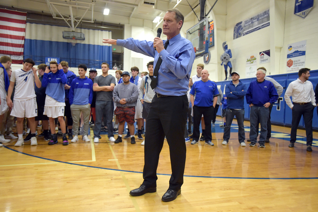 . Longmont High School boys basketball coach Jeff Kloster makes a speech after his 400th win Tuesday night at Longmont High School. To view more photos visit bocopreps.com. Lewis Geyer/Staff Photographer Jan. 09, 2018