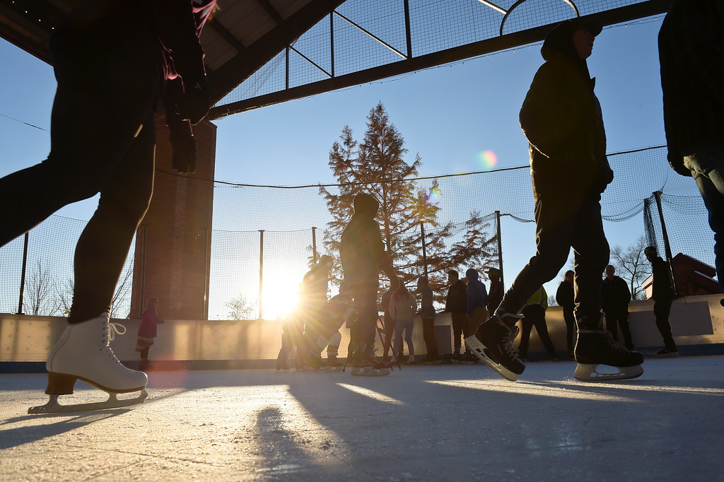 . LONGMONT, CO - NOVEMBER 12: Young skaters fill the rink after school at the Longmont Ice Pavilion in Roosevelt Park Nov. 12, 2018. Monday was the first day the skating rink was open for the season. (Photo by Lewis Geyer/Staff Photographer)