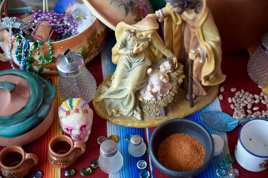 . LONGMONT, CO - OCTOBER 10: Baby Jesus with Mary and Joseph are part of Marta Moreno\'s altar at the Día de los Muertos exhibition Oct. 10, 2018 at the Longmont Museum and Cultural Center. The annual exhibit runs through Nov. 6. (Photo by Lewis Geyer/Staff Photographer)