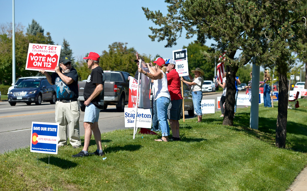. LONGMONT, CO - SEPTEMBER 22, 2018: The �I Stand With Trump! � Make America Great Again �Get out the Vote� rally at the intersection of Nelson Road and Hover Street Sept. 22. (Photo by Lewis Geyer/Staff Photographer)