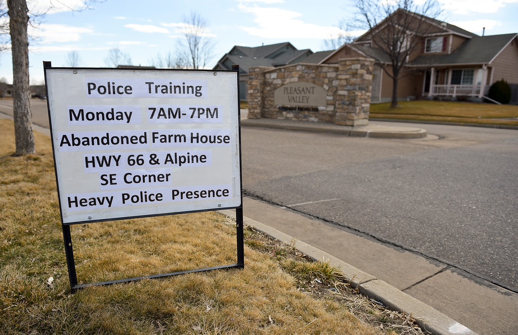 . A sign posted in a neighborhood a Longmont Police Department SWAT training exercise in a field at Alpine Street and Colo. 66. To view more photos and a video visit timescall.com. Lewis Geyer/Staff Photographer March 12, 2018