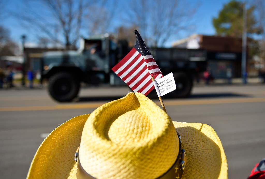 . LONGMONT, CO - NOVEMBER 10: Marie May watches the Longmont Veterans Day parade Nov. 10, 2018. (Photo by Lewis Geyer/Staff Photographer)