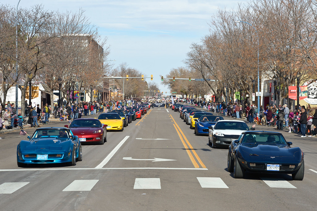 . LONGMONT, CO - NOVEMBER 10: Corvettes take part in the Longmont Veterans Day parade Nov. 10, 2018. (Photo by Lewis Geyer/Staff Photographer)