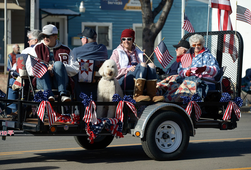 . LONGMONT, CO - NOVEMBER 10: A red, white, and blue float in the Longmont Veterans Day parade Nov. 10, 2018. (Photo by Lewis Geyer/Staff Photographer)