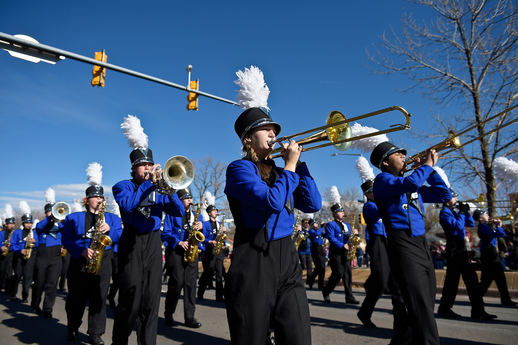 . LONGMONT, CO - NOVEMBER 10: The Longmont High School marching band performs in the Longmont Veterans Day parade Nov. 10, 2018. (Photo by Lewis Geyer/Staff Photographer)