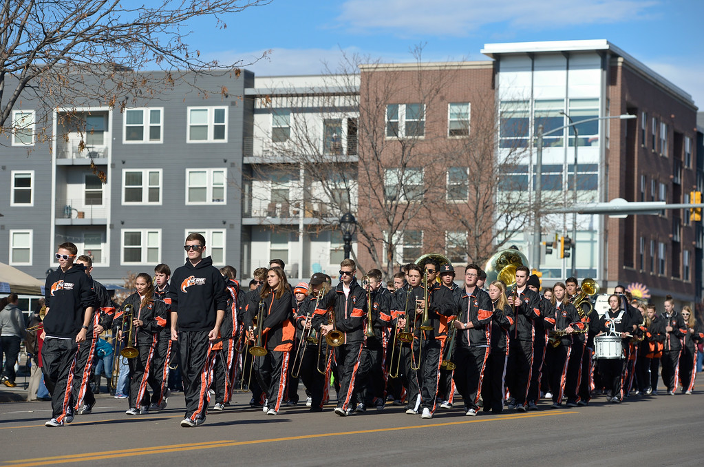 . LONGMONT, CO - NOVEMBER 10: The Erie High School marching band in the Longmont Veterans Day parade Nov. 10, 2018. (Photo by Lewis Geyer/Staff Photographer)