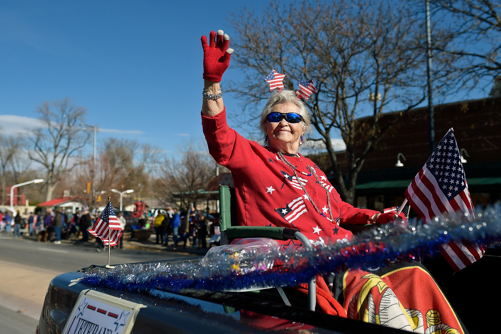 . LONGMONT, CO - NOVEMBER 10: World War II Marine veteran widow Verna Sowa waves to the crowd during the Longmont Veterans Day parade Nov. 10, 2018. (Photo by Lewis Geyer/Staff Photographer)