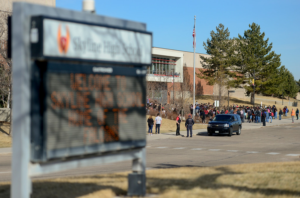 . Skyline High School students stand in silence for 17 minutes to recognize the victims of the Parkland, Florida shooting, in Longmont, Colorado on March 14, 2018. (Photo by Matthew Jonas/Staff Photographer)