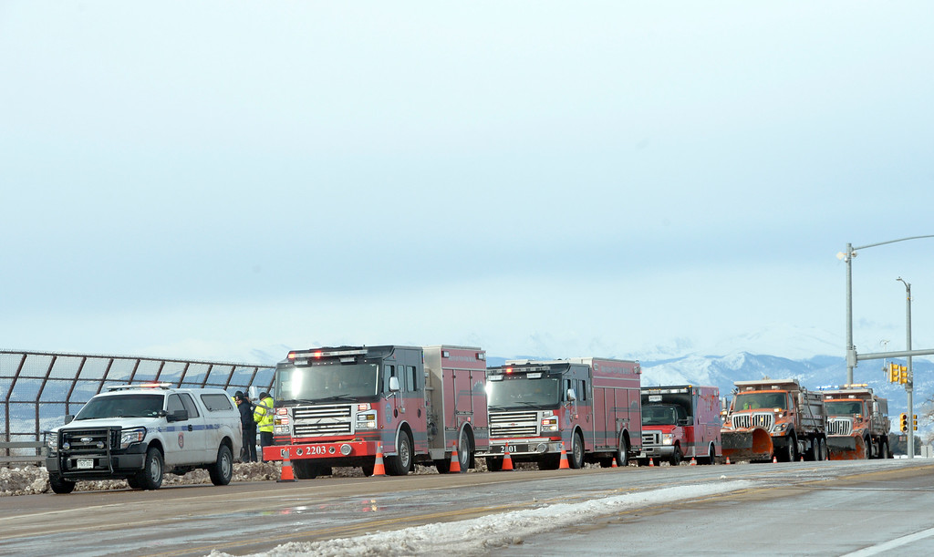 . MEAD, CO - MARCH 14: Mountain View Fire Rescue and CDOT plow trucks are stationed on the I-25 overpass at Colo. 66 Thursday morning, March 14, 2019. (Photo by Lewis Geyer/Staff Photographer)