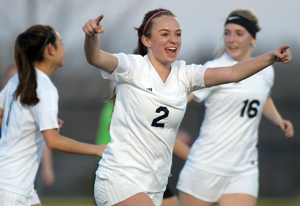 . Frederick\'s Makenzie te Velde celebrates her second goal of the game against Longmont in the second half Tuesday night at Frederick High School. To view more photos visit bocopreps.com. Lewis Geyer/Staff Photographer March 13, 2018