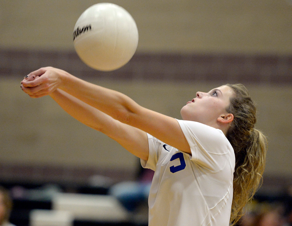 . Longmont\'s Ellen Goodwin makes contact with the ball in the second game against Silver Creek at Silver Creek High School Thursday night. To view more photos visit bocopreps.com. Lewis Geyer/Staff Photographer Oct. 19, 62017