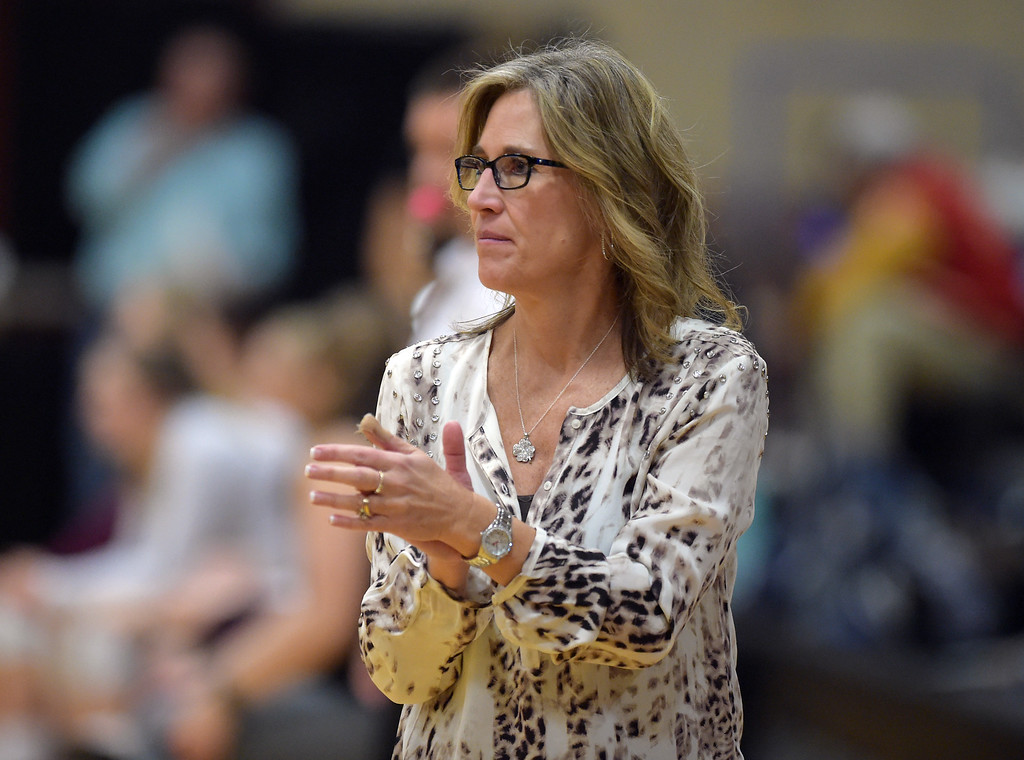 . Longmont coach Holli Stetson watches her team during the second game against Silver Creek at Silver Creek High School Thursday night. To view more photos visit bocopreps.com. Lewis Geyer/Staff Photographer Oct. 19, 62017