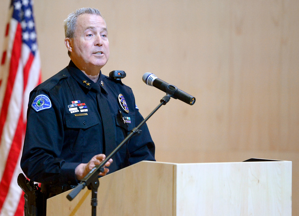 . LONGMONT, CO - JANUARY 14: Deputy police chief Jeff Satur speaks during the Public Safety Recognition Ceremony January 14, 2019 in the Stewart Auditorium at the Longmont Museum and Cultural Center. Ten new police officers were sworn in during the ceremony. To view more photos visit timescall.com. (Photo by Lewis Geyer/Staff Photographer)