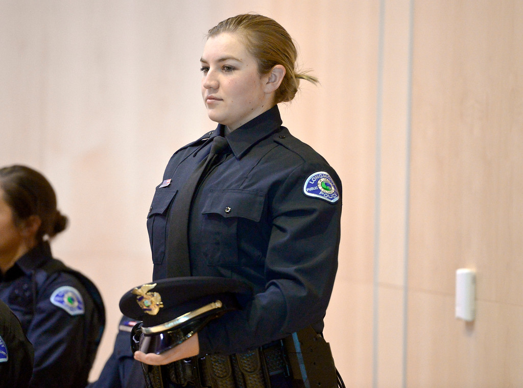 . LONGMONT, CO - JANUARY 14: Savanah Vowers stands as she is recognized during the Public Safety Recognition Ceremony January 14, 2019 in the Stewart Auditorium at the Longmont Museum and Cultural Center. Vowers was one of ten new police officers sworn in during the ceremony. To view more photos visit timescall.com. (Photo by Lewis Geyer/Staff Photographer)