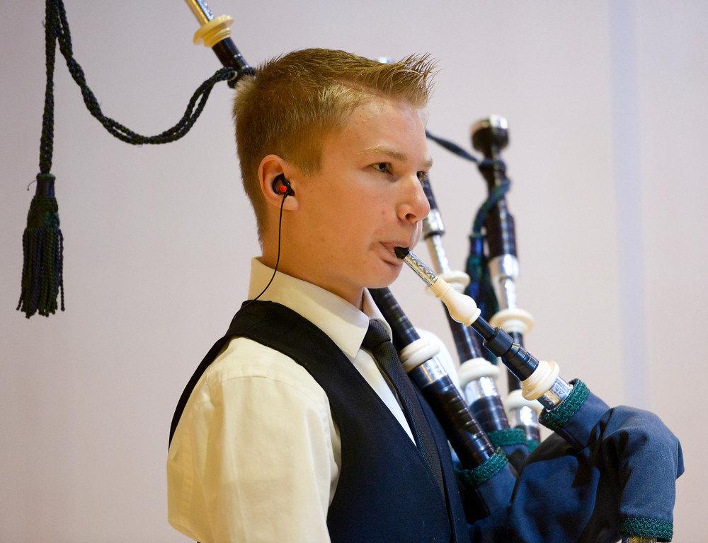 . LONGMONT, CO - JANUARY 14: Ashton Steele plays the National Anthem on bag pipes at the start of the Public Safety Recognition Ceremony January 14, 2019 in the Stewart Auditorium at the Longmont Museum and Cultural Center. To view more photos visit timescall.com. (Photo by Lewis Geyer/Staff Photographer)